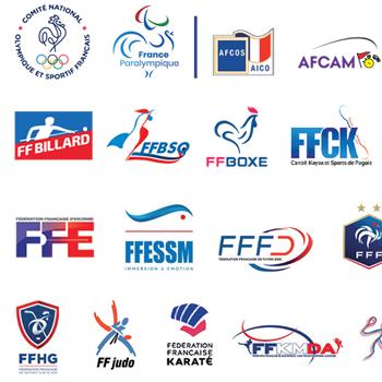 Image listing du mur des logos des fédérations